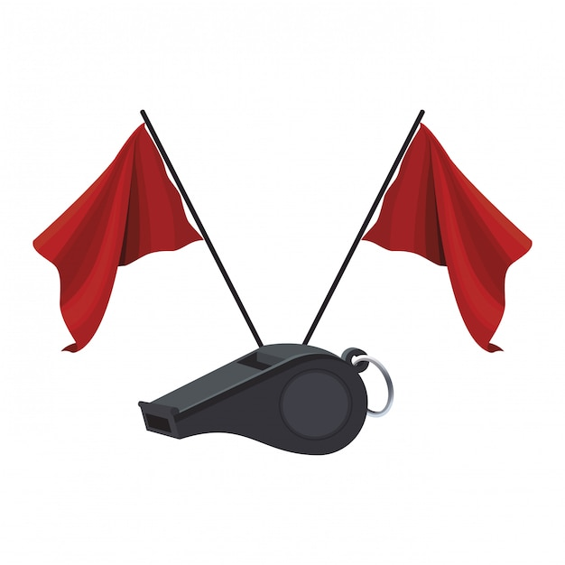 Referee whistle and flags Premium Vector