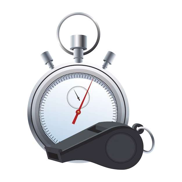 Referee whistle and stopwatch Premium Vector