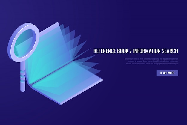Reference book concept. magnifying glass with open book on blue background. Free Vector