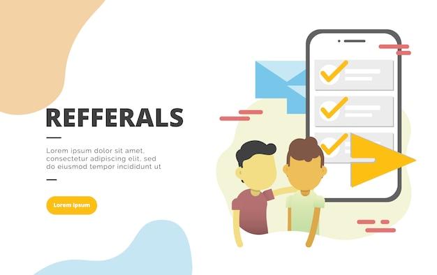 Referral marketing flat design banner illustration Premium Vector