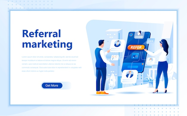 Referral marketing flat landing page template of homepage Premium Vector