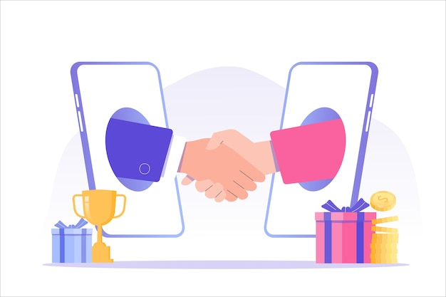 Referral marketing with business people shaking hands in big smartphone Premium Vector