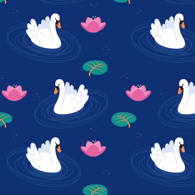 Refined swan pattern Free Vector