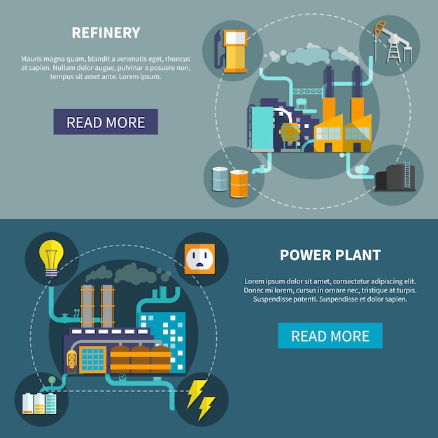 Refinery and power plant set layout Premium Vector