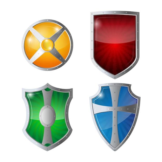 エンブレム付きの反射光沢のある緑、オレンジ、青、黄赤の盾。シールド保護、webセキュリティ、ウイルス対策ロゴタイプの概念のセット。セーフガードポリシーの防衛図 Premiumベクター