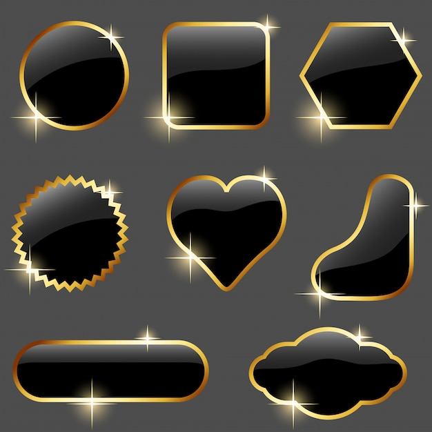 Reflective black buttons with gold frames set Premium Vector