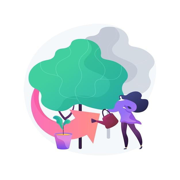 Illustrazione di concetto astratto di rimboschimento. selvicoltura, programma di rimboschimento, reimpianto di alberi, ripristino naturale delle foreste, salvataggio dei boschi, mitigazione dei cambiamenti climatici Vettore gratuito