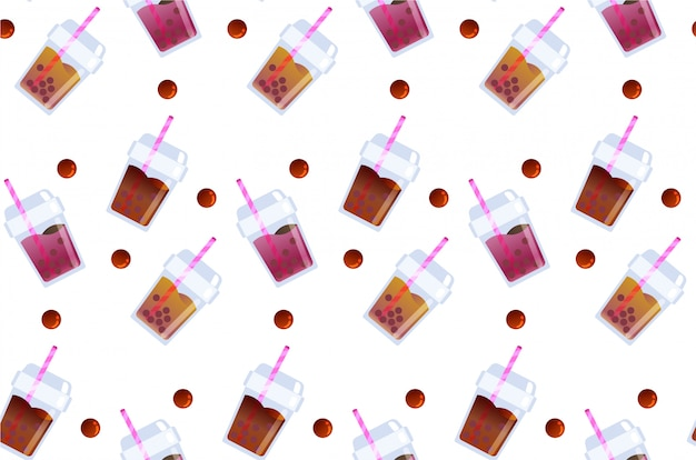 Refresh bubble tea beverage seamless pattern Premium Vector
