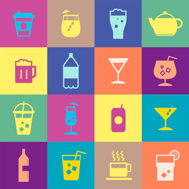 Refreshing drinks icons collection illustration Free Vector