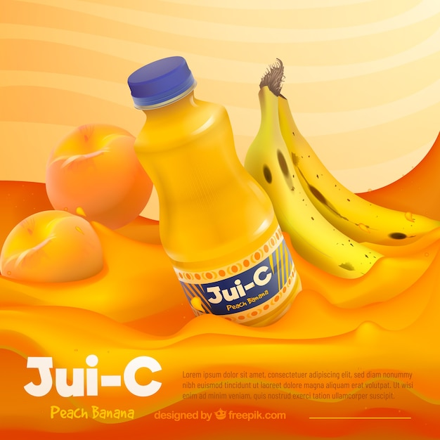 Refreshing fruit juice advertisement in realistic style Free Vector