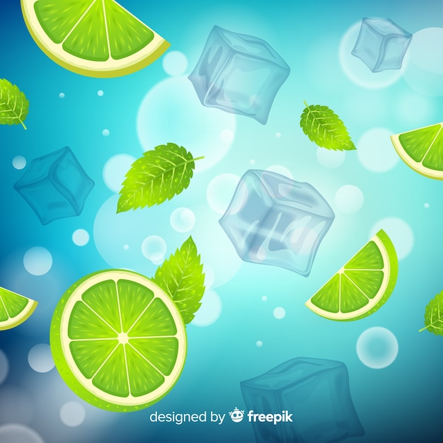 Refreshing ice cube background Free Vector