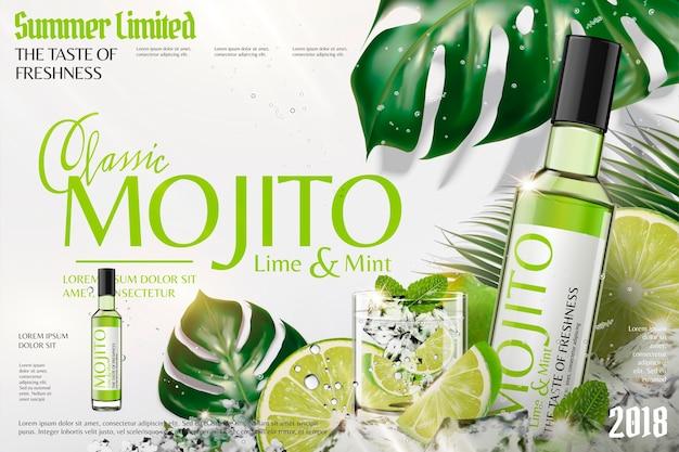 角氷とライム、熱帯の葉の背景でさわやかなモヒート広告 Premiumベクター