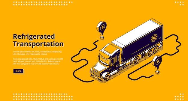 Баннер рефрижераторный транспорт. грузовой автомобиль с рефрижераторным контейнером для доставки и отгрузки холодных и замороженных грузов. Бесплатные векторы