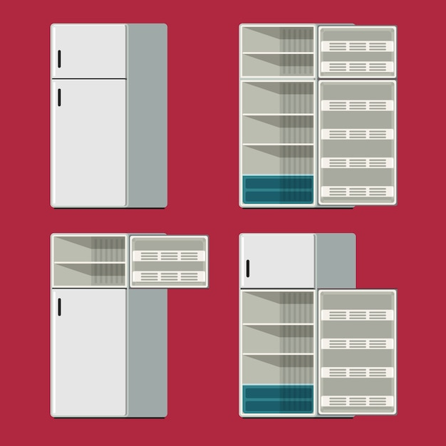 Refrigerator closed and opened set icon in red background. vector illustration Premium Vector