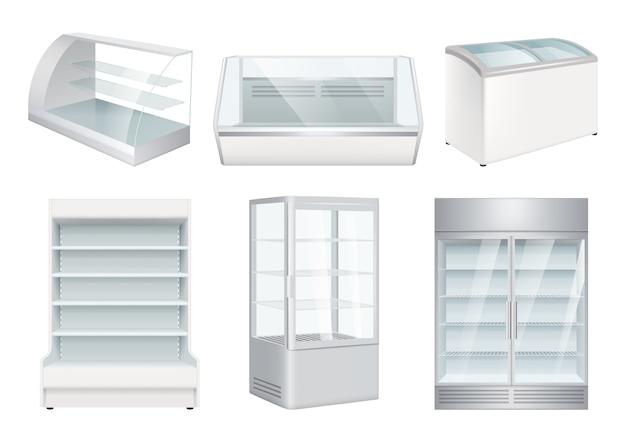 Refrigerator empty. supermarket retail equipment realistic refrigerators for store Premium Vector