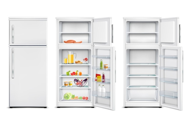 Refrigerator fridge realistic set of isolated cold storage units with products open and closed door Free Vector