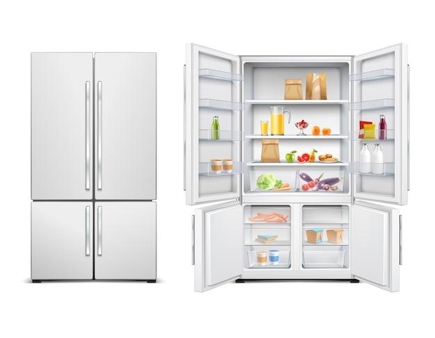 식품으로 채워진 두 개의 문이있는 큰 가족 냉장고의 냉장고 냉장고 현실적인 세트 무료 벡터