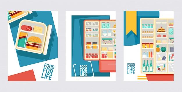 カードポスターのセットの製品の冷蔵庫果物と野菜のオープンクーラー Premiumベクター