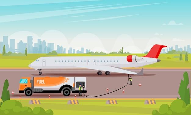 Refueling passenger aircraft flat illustration. Premium Vector