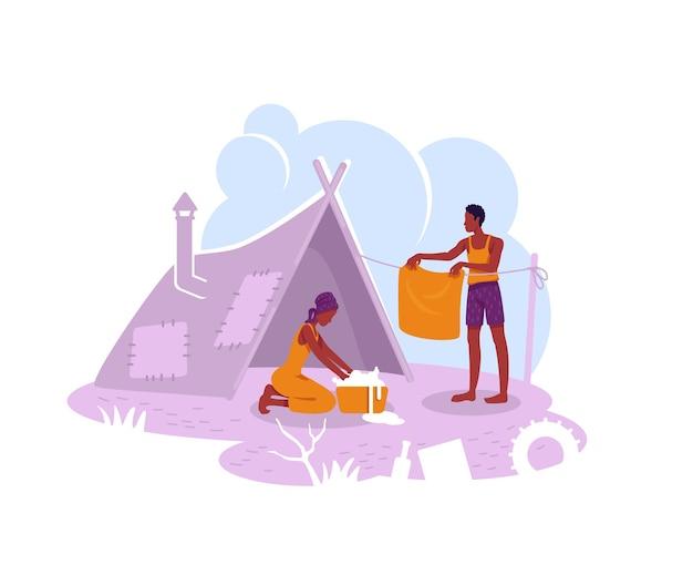 難民キャンプの2dwebバナー、ポスター。漫画の背景に不法移民の一時的な避難所フラットキャラクター。テントの印刷可能なパッチ、カラフルなウェブ要素の貧しい家族 Premiumベクター