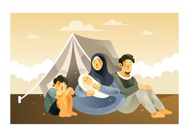 The refugee family life in the refugee camp Premium Vector