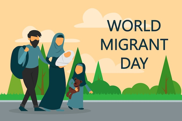 道を歩いている難民家族。世界移民デー。 Premiumベクター