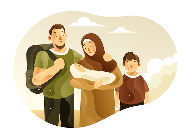 The refugee family with children illustration Premium Vector