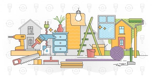 Восстановить домашний процесс иллюстрации в плоской красочной схеме Premium векторы