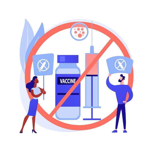 Отказ от вакцинации абстрактное понятие векторные иллюстрации. риск отказа от инъекции вакцины, применение, обязательная иммунизация, нерешительность вакцинации, причины отказа от абстрактной метафоры. Бесплатные векторы