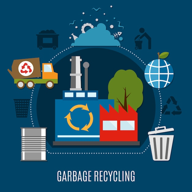Refuse disposal works composition Free Vector
