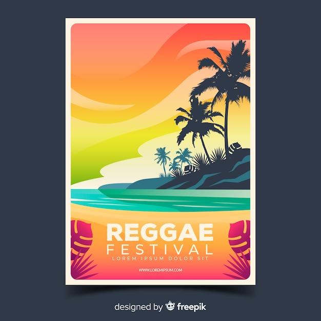 Reggae festival poster with gradient illustration Free Vector
