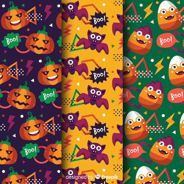 Reggae funny colours and elements in halloween style Free Vector