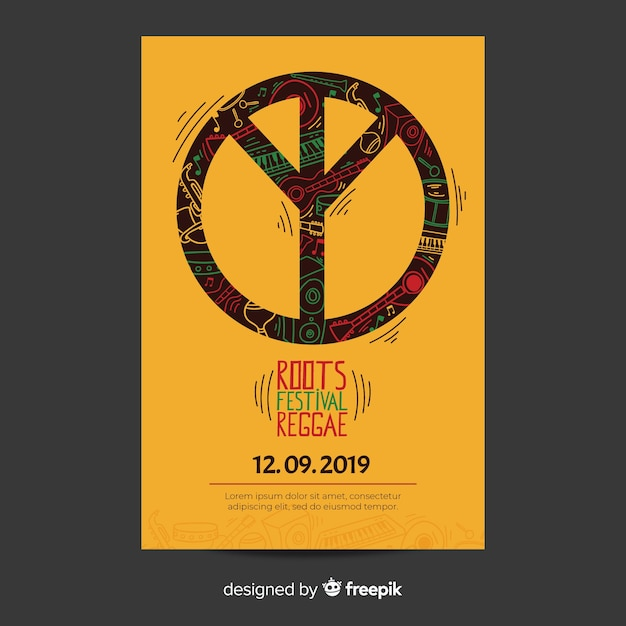 Reggae party flyer with peace sign Free Vector