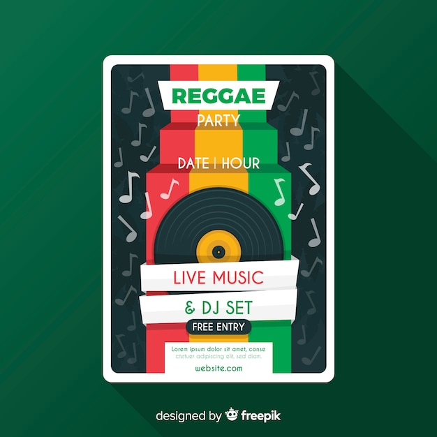 Reggae party flyer Free Vector