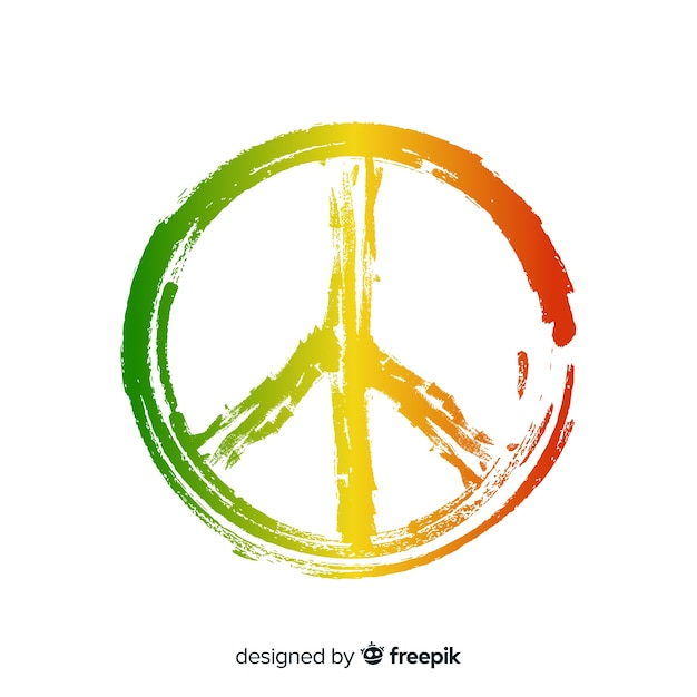 Reggae peace sign background Free Vector