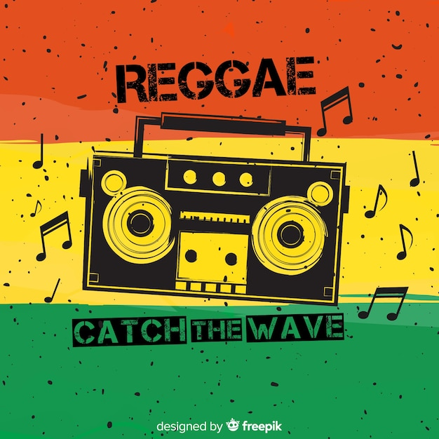 Reggae-style background with music Free Vector