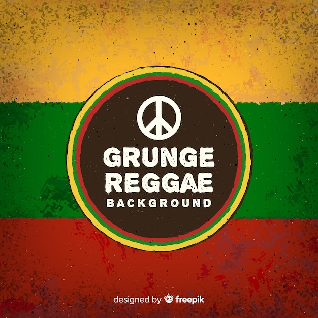 Reggae-style background with peace sign Free Vector