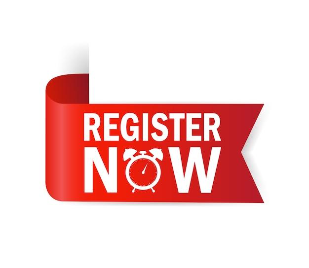 Register now for banner . ribbon banner. modern promotion template. sale website banner. Premium Vector