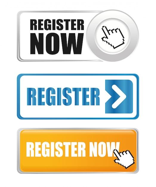 Register now design. Premium Vector