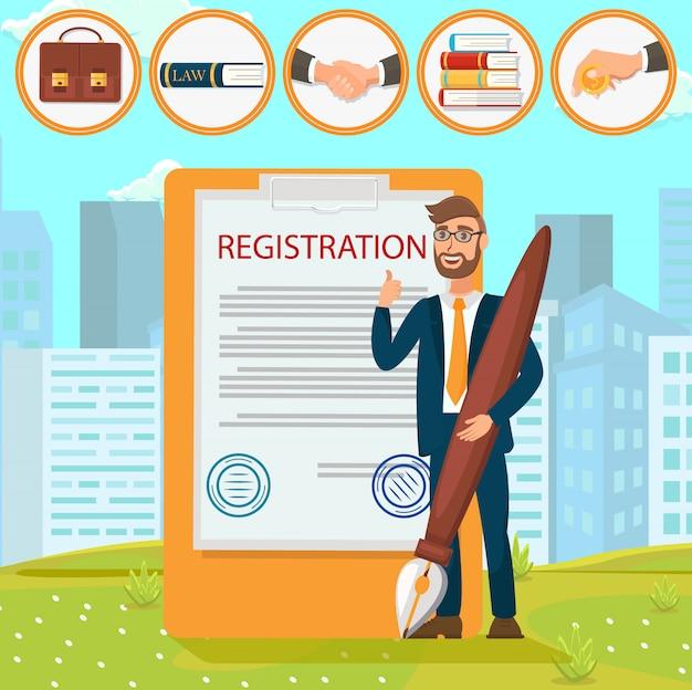 Registration documents puts signature stamp flat. Premium Vector