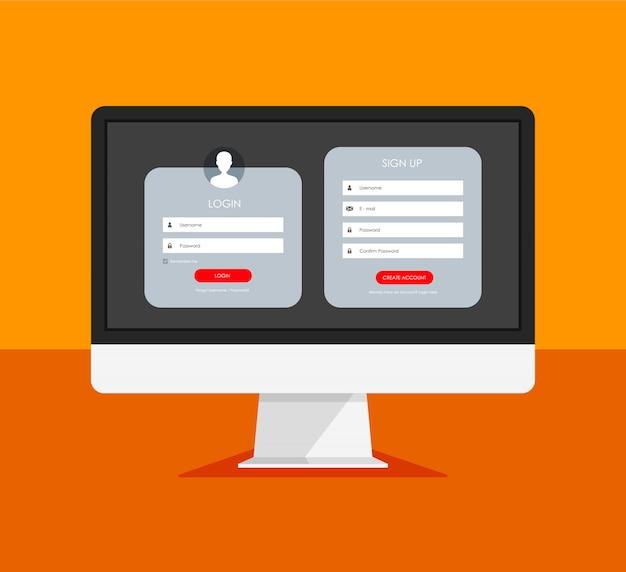 Форма регистрации и страница входа в систему на мониторе. Premium векторы