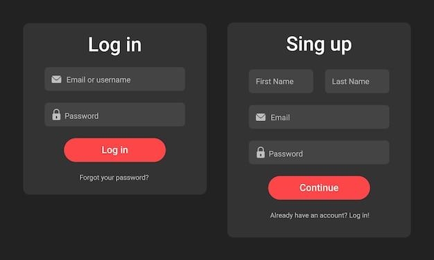 Registration form and login form. dark design Premium Vector