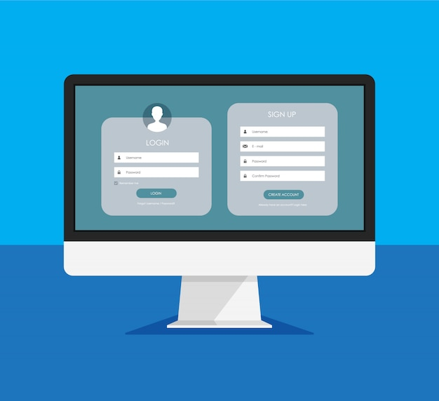 Registration form and login form page on a monitor display. template for your design. website ui concept. Premium Vector