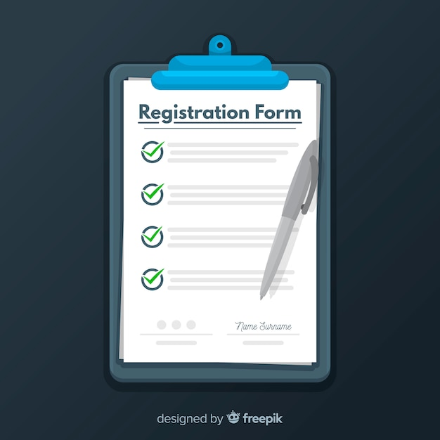 Registration form template with flat design Free Vector