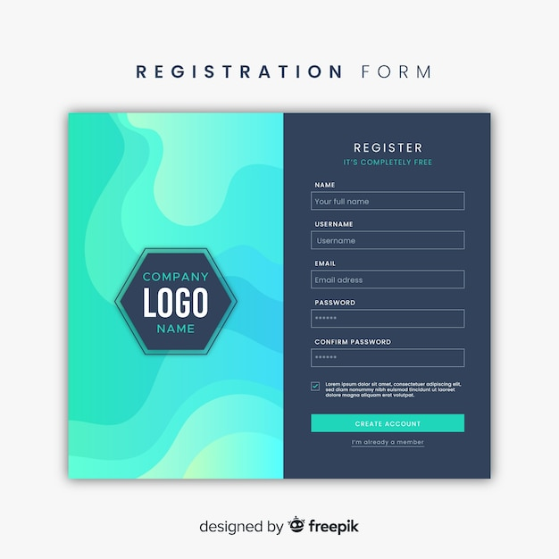 Registration form Free Vector