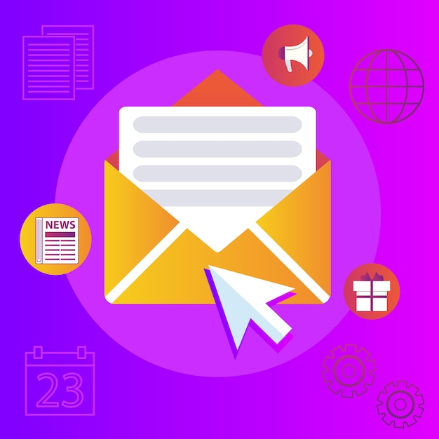 Regularly distributed news publication via e-mail with some topics of interest to its subscribers. Premium Vector