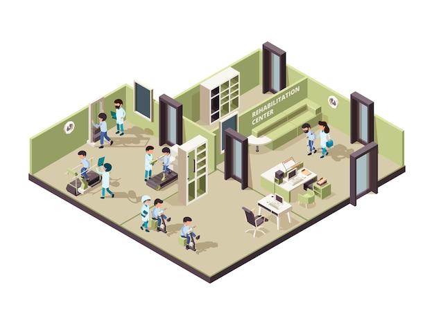 Реабилитационная клиника. медсестра помогает пациенту профессиональный человек лечение физических упражнений для инвалидов изометрического интерьера. Premium векторы