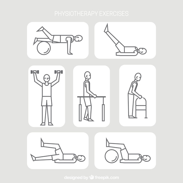 Rehabilitation exercise pack in linear style Premium Vector