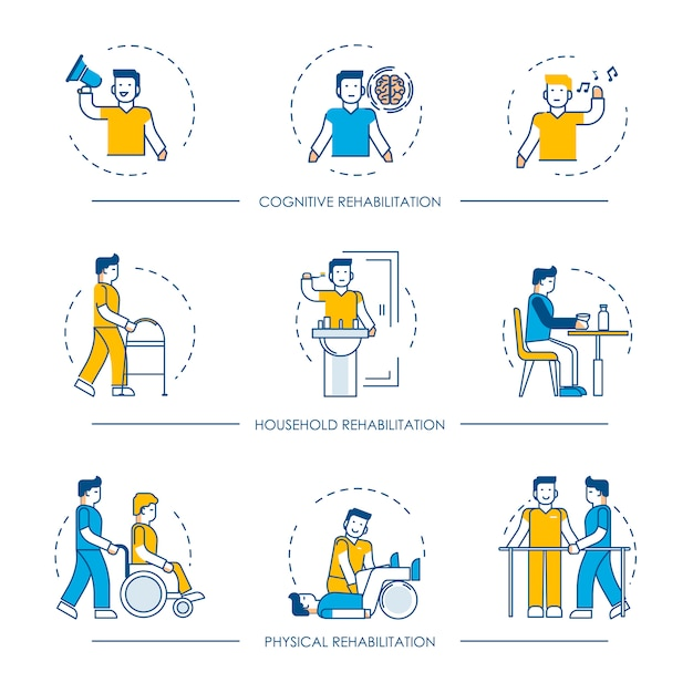 Rehabilitation human man character for cognitive, physical and household rehabilitation medicine therapy Premium Vector