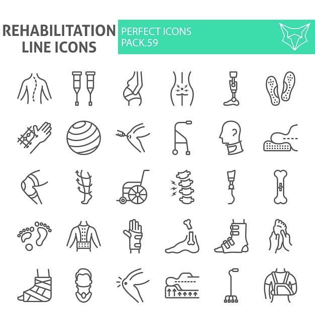 Набор иконок линии реабилитации Premium векторы